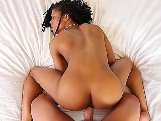 Stunning urban hottie tries a fat white cock