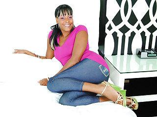 Ebony doll Rudy Karmel gets her vag plunged by a big lengthy chisel