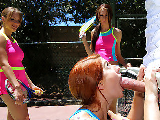 Summer camp bitches sharing one heavy fat cock after tennis