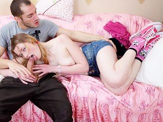 Sweet teenage honey gives a fellate BJ and gets  screw