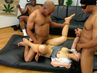Dark-hued dudes are drilling a small dark-haired