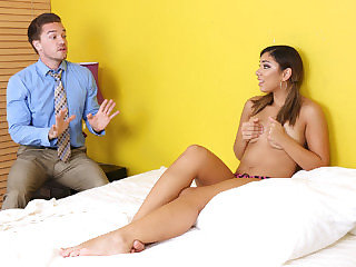 Super-sexy babysitter doll Mariah gets banged by enormous man meat of her employer