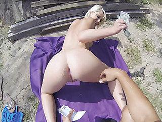 Fine looking blonde damsel Dani Fantasy gets porked in a public place