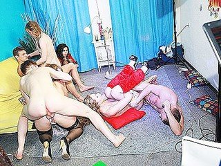 Super hot gang intercourse at fancy-dress soiree