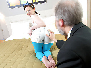 This elderly heads young guy admired Lenka's backside before slurping her cooch and fucking her