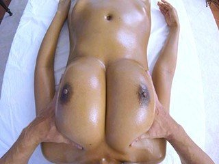Super-steamy doll gets proficient massage for her yam-sized bosoms